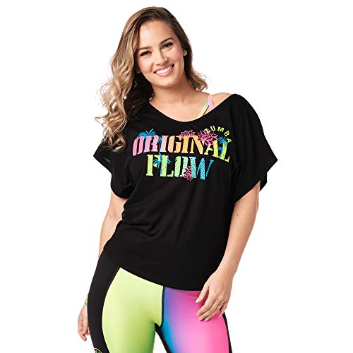 Zumba Fitness® Athlétique Top Femme Coupe Ample Dance Vetements Sport Haut d'Entraînement, Camiseta Mujer, Opacity, Black a, X-Small/Small