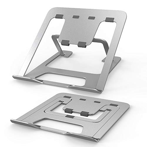 TOPACE Laptop Stander Hohenverstellbar Notebook Computer Stander Tragbarer Faltbar Aluminium Laptop Stand Halterung Kompatibel mit Alle Laptops Tablet MacBook Pro Lenovo Samsung HP DellSilber