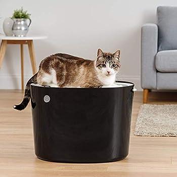 Iris Ohyama, Maison de toilette pour chat avec couvercle à rainures, entrée par le haut et pelle - Top Entry Cat Litter Box - PUNT-530, plastique, noir, 53 x 41 x 37 cm
