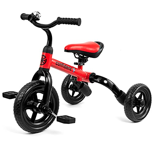 3 in 1 Toddler Tricycles for 2 - 4 Years Old Boys and Girls with Detachable Pedal and Bell | Foldable Baby Balance Bike Riding Toys for 24 Month Up Kids | Infant First Birthday New Year Red
