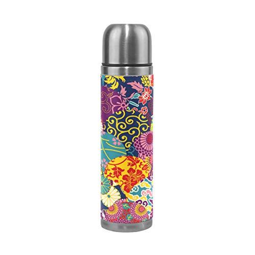 Vintage Bunte Blume Wasserflasche Thermoskanne Edelstahl Isolierte Isolierflasche Auslaufsicher Leder Verpackung Thermosflasche(500 ML)