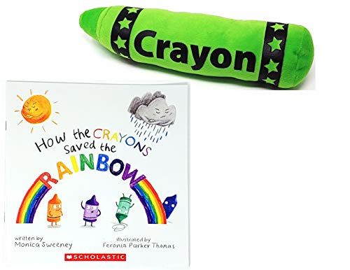 How The Crayons Saved The Rainbow by Monica Sweeney Friendship Book and a Green Plush Crayon Gift Set