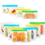Bolsas de Almacenamiento de Alimentos Reutilizables 12 PCS, Usetcc Bolsas para Sándwiches Bolsas Congelar Reutilizable para Verduras, Frutas, Almuerzo, Carne, Bocadillos, Sin BPA(12 Pcs)