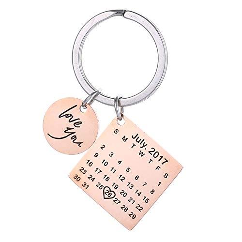 Schlüsselanhänger und Schlüsselanhänger, personalisierbar, personalisierbar, mit Kalendereingraviertem Datum, Edelstahl, als Geschenk für Jahrestage oder Hochzeitstag (Rose Gold)