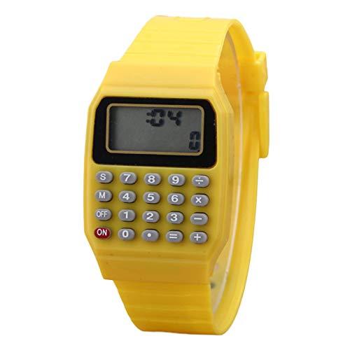 qiguch66 Basic Office Calculators,Standard Function for Office,Home,School,Children Digital Square Wrist Watch Mini Portable Calculator Exam Tool Kids Gift - Yellow