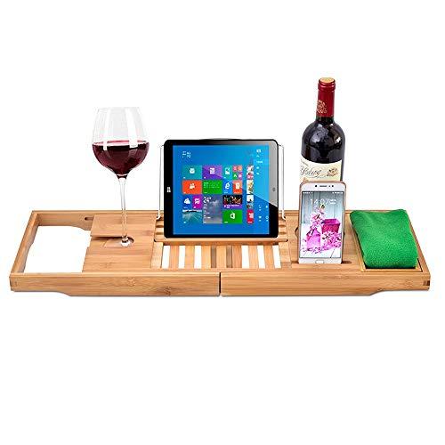 NuoRong Bamboo Vasca da Bagno Caddy Vassoio allungabili Lati Costruito nel Supporto del Libro Tablet Cellulare Vassoio & Wine Glass Slot, Premium Bagno Mensola Rack