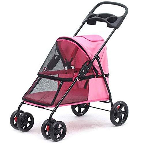 Pink Pet Travel Stroller, Carro De Cuatro Ruedas Plegable, Suspensión, Conmutación, Carrito...