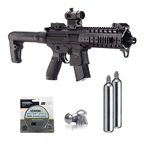 SIG Sauer MPX .177 Cal CO2 Powered Air Rifle with CO2 90 Gram (2 Pack) and 500 Lead Pellets Bundle (Black, Red Dot)