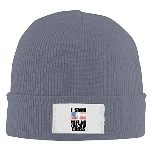 Drunce Knit Beanie Hats I Stand for The Flag and I Kneel for The Cross Daily Watch Cap