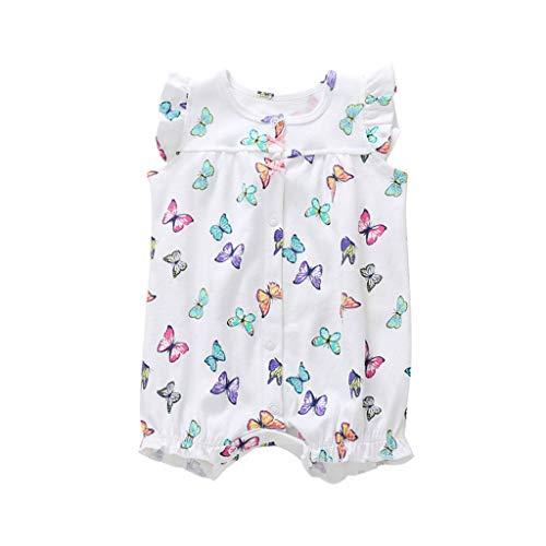 MRULIC Baby Strampler Mädchen und Jungen Einteilige Cartoon Gestreiften Bodysuit Kurzarm Overall Sommer Jumpsuit(Weiß,0-6 Monate)