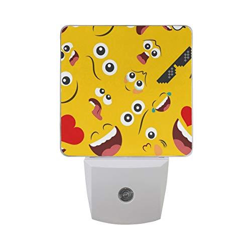 AOTISO 2er Pack Emoticon Brille Herz Gesicht Nachtlicht Dämmerung bis Morgengrauen Sensor Plug in Nacht Home Decor Schreibtischlampe