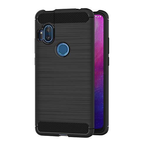 AICEK Funda Compatible Moto One Hyper, Negro Silicona Fundas para Motorola Moto One Hyper Carcasa Moto One Hyper Fibra de Carbono Funda Case (6,5 Pulgadas)