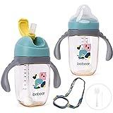 Bebamour Sippy Cup 6 – 36 meses sin derrames, taza de pajita para niños pequeños, boquilla suave, a prueba de derrames, botella de agua para niños, sin BPA, PPSU, 240 ml, juego de dino azul