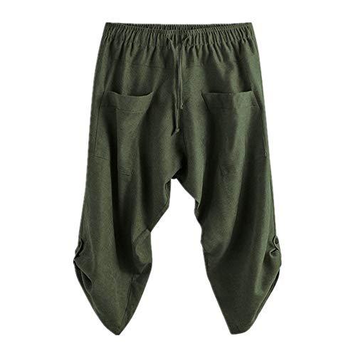 Pantalones cruzados para hombre sueltos holgados pantalones con cordón pantalones de verano de los hombres