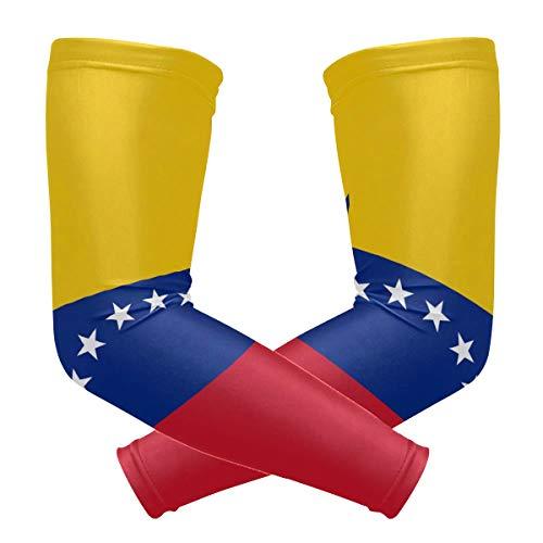 DEZIRO - Mangas para brazo de refrigeración con bandera de Venezuela para hombres, mujeres y jóvenes