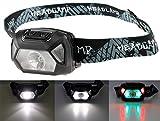 ChiliTec Linterna frontal LED ajustable, luz blanca roja, IPx4, 3 pilas micro de 5 W, 200 lúmenes, con banda de goma suave, 3 modos de iluminación, color blanco, rojo y verde