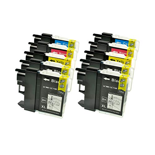Logic-Seek 10 XXL Tintenpatronen kompatibel für Brother LC 1100 LC 980 LC1100 LC980 4xbk je 23ml, 2X c, 2X y, 2X m je 14ml, LC1100BK LC1100Y LC1100C LC1100M LC980BK LC980Y LC980C LC980M