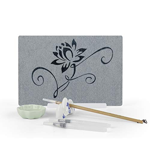 ELICE Water Drawing Board Samadhi Board Artist Board Anxiety Relief Meditation Gifts, with Premium Bamboo Brushes and Stand, Environmentally Reusable Board for Adults Girls Boys (A4)