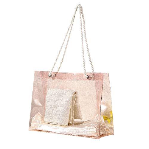 Le donne viaggiano borse impermeabili portatili trasparenti borsa di stoccaggio spiaggia borse in pvc di cristallo borsa di nuoto femminile (rosa/piccolo)