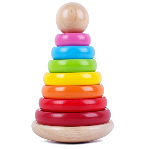 Wooden Rainbow Ring Stacker Toy Stacking Ring Tower Games Early Educational Development Toys for Babies and Toddlers