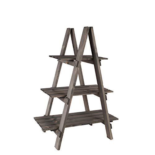 Nature by Kolibri Ladderrek hout grijs met 3 planken voor binnen en buiten