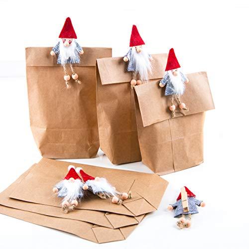 Logbuch-Verlag 6 papieren zakken bruin met kabouterklem van vilt - kabouterzak kerstversiering geschenkverpakking kerst