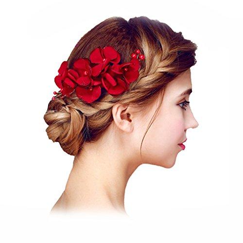 YAZILIND Tocado de Pelo de Novia Pins Flores Rojo Perla de la Boda Accesorios de Pelo Partido para...