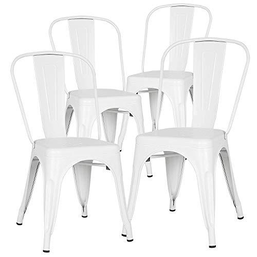 ZMALL Lot de 4 chaises de salle à manger en métal empilables pour intérieur ou extérieur, design de style industriel pour une cour, un bistrot, une cuisine, un café, un bar