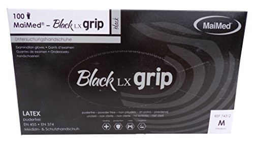 MaiMed Black LX Grip Latex Handschuhe Gr.M Box a 100 St. 74312