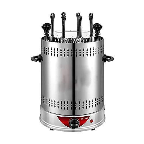 CXYY Parrilla Sin Humo Vertical Parrilla Eléctrica Horno Barbacoa Máquina Brocheta Kebab Barbacoa Sin Humo Interior Exterior Calefacción Giratoria Automática,8 Forks