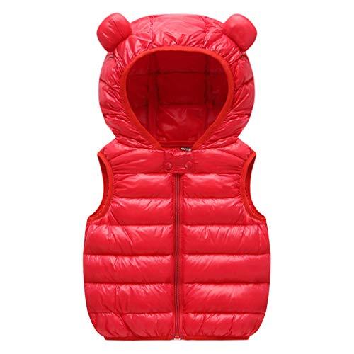 Bebé Chaleco de Abajo Niños Niñas Chaleco de Plumas Invierno Encapuchado Chaquetas Acolchado Ligero Sin Mangas Abrigo