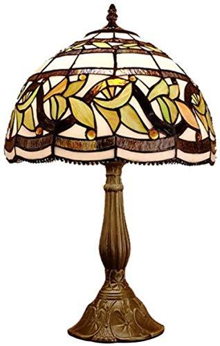 Temperament Pastorale glas in lood tafellamp tafellamp fabriek rotan retro handgemaakte woonkamer lamp slaapkamer leesvoer cafe hjm grregsdv (Color : A)