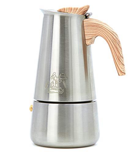 Walter's Brotlädele Espressokocher Elektro, Gas oder Induktion geeignet | aus Edelstahl gefertigt mit Bakelit Griff und Silikonbeschichtung | 9 Tassen Espressokanne | 450 ml Mokkakanne (9 Tassen)