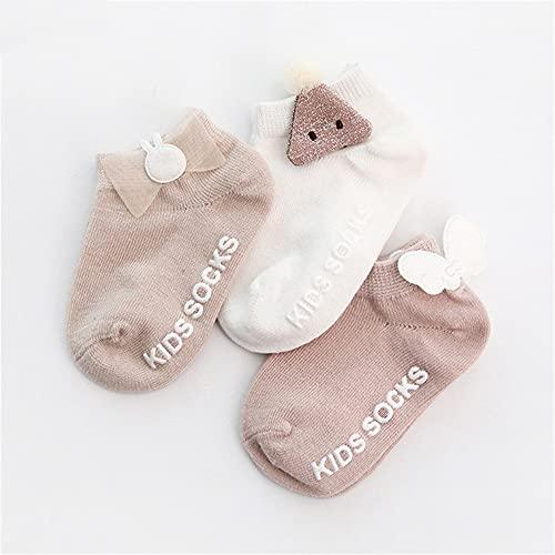 3 par/Lote 0 a 24 M Primavera Verano Calcetines de bebé Color sólido Calcetines de Piso de bebé de algodón Suave Calcetines de Barco Antideslizantes para niñas-a17-Newborn