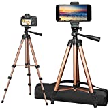 PEYOU Tripod for Phone and Camera, 50' Extendable Lightweight Aluminum Tripod Stand + Wireless Remote + Phone Holder Mount Compatible for iPhone 11 Pro Max/11 Pro/XR/X/8 Plus & More