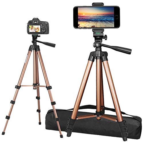 """PEYOU Tripod for Phone and Camera, 50"""" Extendable Lightweight Aluminum Tripod Stand + Wireless Remote + Phone Holder Mount Compatible for iPhone 11 Pro Max/11 Pro/XR/X/8 Plus & More"""