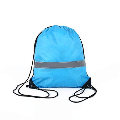 Y-POWER Mochila con cordón con tira reflectante, mochila de cuerda, bolsa para escuela, yoga, deporte, gimnasio, viajes