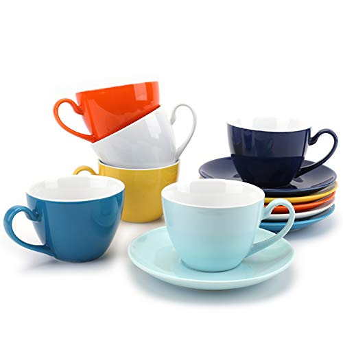 Suwimut Set of 6 Porcelain Cappuccino Cups with Saucers 6 Ounce Espresso Cups for Coffee Drinks Cafe Mocha Latte and Tea Assorted Colors
