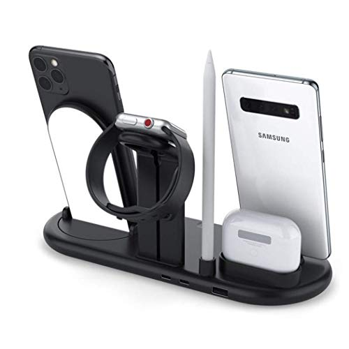 OH 7 en 1 Cargador Inalámbrico 10W Carga Rápida Adecuada para Iphone 12 Mini Pro Max 11 Pro Max X Xs Y para I 6 5 4 para Airpods Pro Lápiz Carger Dock Station Led Lmap Black Estable