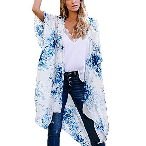 Mujeres Verano Kimono Azul de Estampado de Flores,Cárdigan de Gasa Casual,Pareos Retro Elegante,Ropa de Playa Atractivo,Camisolas Suave y Ligero,Blusa de Bohemio,Tops Manga Corta