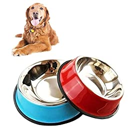 2 Pieces Dog Bowl Stainless Steel Non-Slip and Leak-Proof Dog Feeding Bowls,Multifunctional Pet Food Bowl, Small and medium Pet Color Food Bowls And Water Bowls