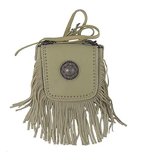 Handtasche Schultertasche Westerntasche Montana West Leder mit Fransen u. Nieten (Natur)