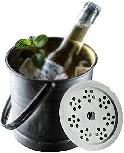 HTL Cubos de Hielo Reutilizables, Cubo de Champán de Acero Inoxidable 3L Tenedor de Vino de Doble Pared Cerveza de Vino Contenedor de Vino Confriadores de Botella de Vino con Rango de Bandeja de Filt