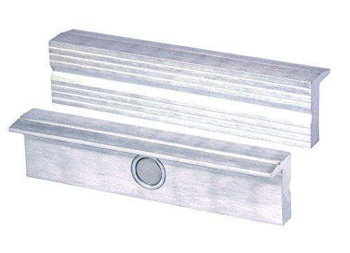 HEUER Magnet-Schutzbacke Typ N für Schraubstock 125 mm, Aluminium mit Rillen, zum Spannen von grob bis mittelfein bearbeiteten Werkstücken