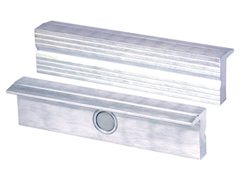 Heuer 110180 Schraubstockbacken (Schutzbacken rechtwinkelig; planparallel; integrierte Spezialmagnete; passend zu Schraubstock 180 mm; Material: Aluminium)