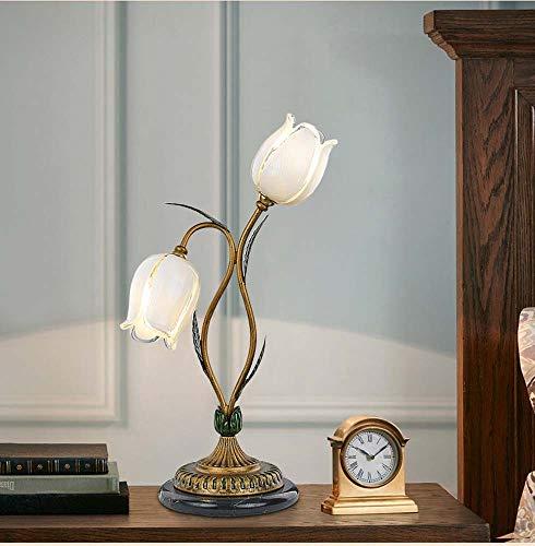 AnjaKD Lámpara De Mesa Americana Dormitorio Cama Creativo Cálido Sala De Estudio Faros Jardín Flores Romántica Flor Blanca Pantalla Doble Cabeza 29 * 56 Cm