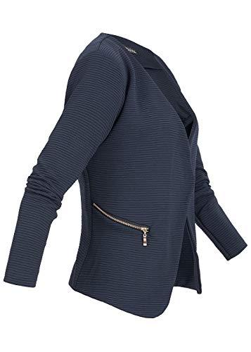 Styleboom Fashion® Damen Blazer Jacke 2 Zipper Eingriffstaschen Geripptes Muster Cardigan Navy blau, Gr:L