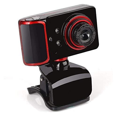 Cámara web HD 16 megapíxeles con micrófono 3 luces LED para cámara nocturna para cámara Veido Web Cam (color: negro + rojo)