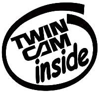 カッティングステッカー TwinCam inside (2枚1セット) 約88mmX約95mm ブラック 黒