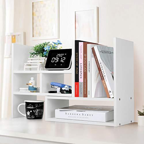 ブックスタンド 本立て 伸縮型本棚 卓上収納 小物入れ収納ラック 重ね合わせ式デスク上置棚 日本語説明書付(ホワイト)